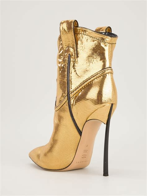 boots high heels casadei stiletto heel cowboy boot in gold metallic lyst