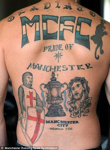 family united tattoo football fanatic gets tattoo to celebrate his team s fa