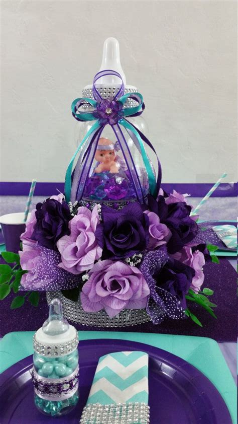 Purple Baby Shower Centerpieces Ideas by Baby Bottle Centerpiece Purple Lavender By