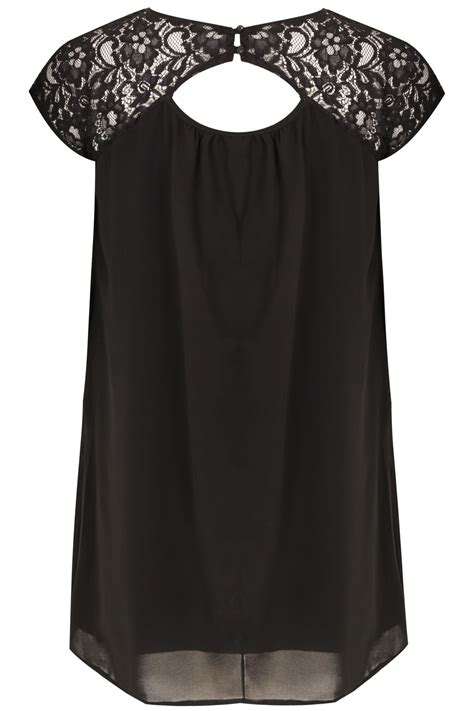 black swing black swing dress with cut out lace yoke plus size 16 to 36