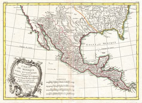 texas and mexico map file 1771 bonne map of mexico texas louisiana and florida geographicus mexico bonne 1771