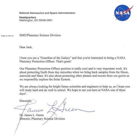 Letter Response To His Coy 9 Year Kid Applies For Nasa S Planetary Protection Officer Nasa Responds With A Letter