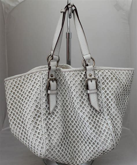 Dolce And Gabbana White Open Leather Bag by Dolce And Gabbana White Perforated Leather Shoulder Bag At