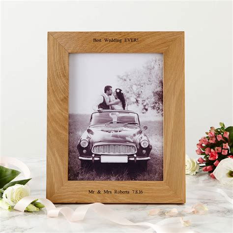 photo frames personalised oak wedding photo frame by mijmoj design notonthehighstreet