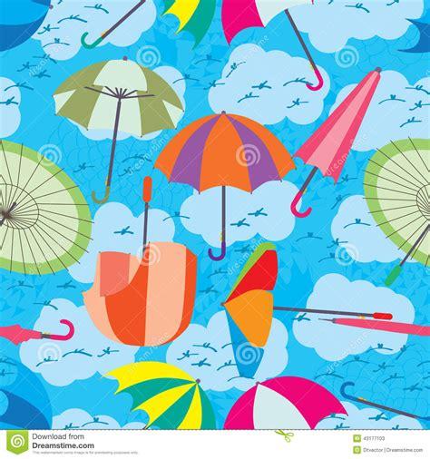 Umbrella Fly Pattern   umbrella fly sky seamless pattern stock vector image