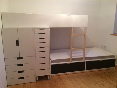ikea bunk bed hack flaxa bunk bed with lots of storage ikea hackers