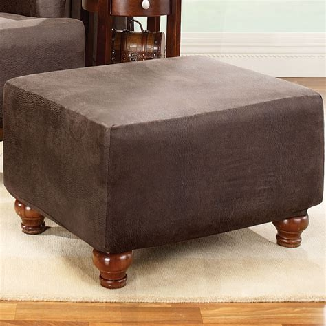 sure fit stretch leather ottoman slipcover sure fit stretch leather ottoman slipcover reviews wayfair