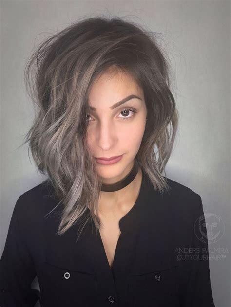 medium length dark hair with ash blonde platium high lights aveda wavy long blonde bob short hair beach wave medium