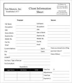 client information sheet template information sheet template business format client