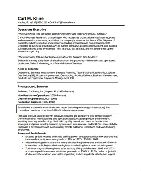 business executive resume sle operations executive resume exles 28 images operations