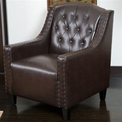 Brown Leather Tufted Chair by Nottingham Tufted Brown Leather Club Chair Gdf Studio
