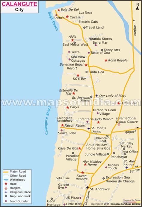 resort goa map calangute city map