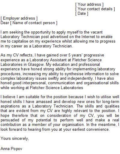 chemist cover letters new lab technician cover letter sample gallery