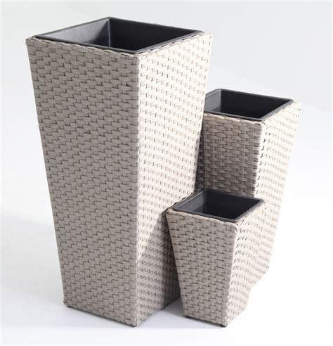 vasi rattan set 3 porta vasi in polyrattan intrecciato con struttura