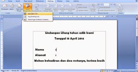 cara membuat surat masal mail merge pada microsoft