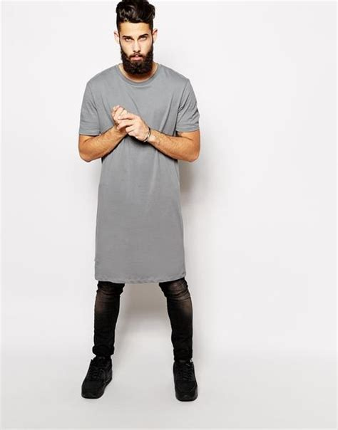 T County Contemporary Mens Clothing Line With A Rugged Edge by Asos Longline T Shirt With Skater Fit In Gray For