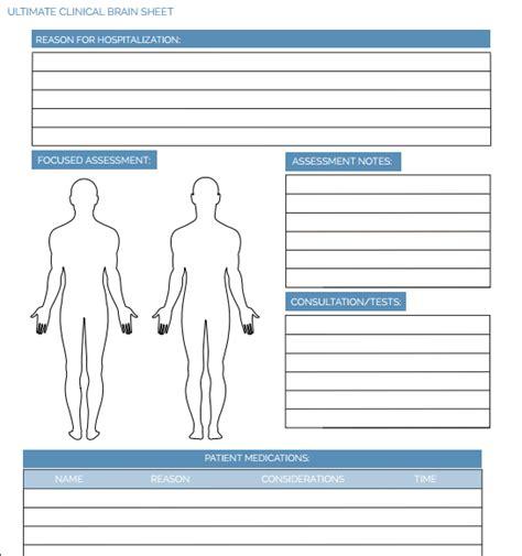 The Ultimate Nursing Brain Sheet Database 33 Nurse Report Sheet Templates Dermatology Progress Note Template
