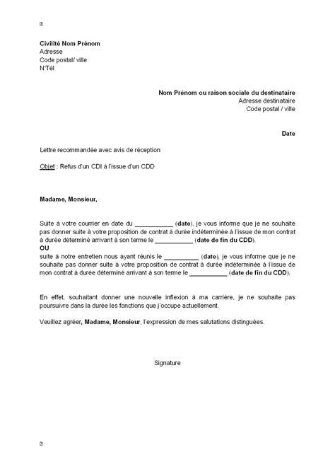 Type De Lettre Pour Un Refus De Visa Lettre De Refus Par Le Salari 233 D Un Cdi 224 L Issue De Cdd Mod 232 Le De Lettre Gratuit