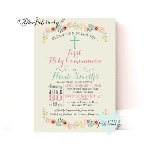 spring wreath first holy communion invitations floral first holy communion invitation holy communion
