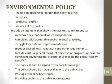 environmental policy template auditor for quality and environmental management systems