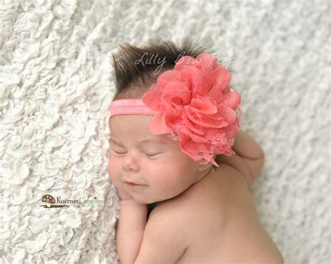 newborn baby headband bows lace flower children baby headband newborn headband coral lace flower