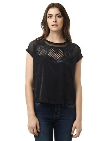 The Bay Tops And Blouses by S Blouses Mesh And Faux Leather Top Hudson S