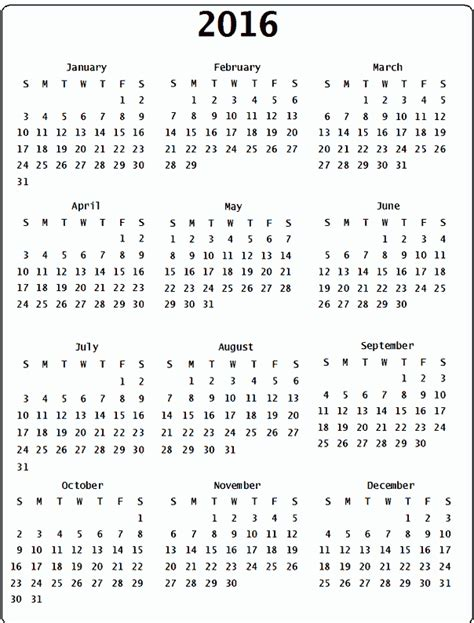 Calendar Dates 2016 Calendar