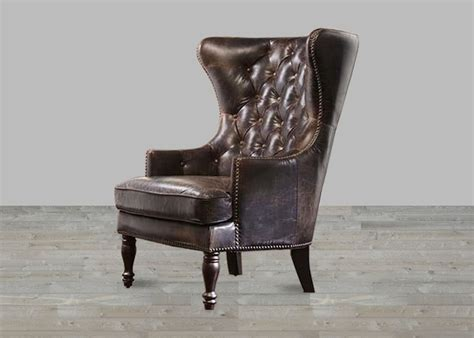 Slipcover Wingback Brompton Chocolate Leather Vintage Wing Back Tufted Back Chair