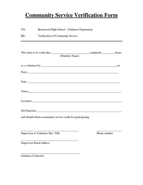 Community Service Letter For High School Students 26 images of general community service form template infovia net