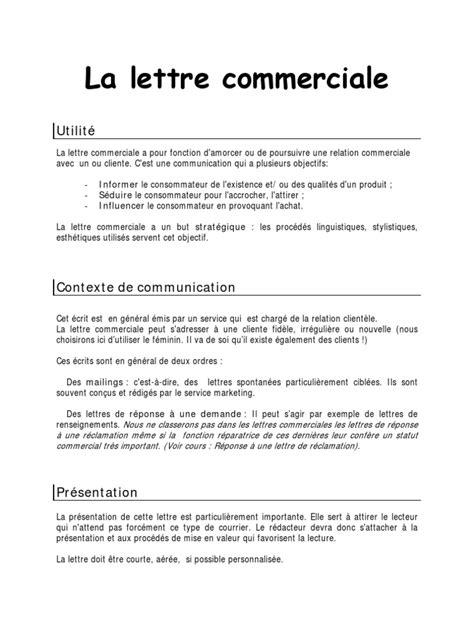 Modèles De Lettres Commerciales Cours La Lettre Commerciale