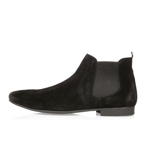 D Island Shoes Boots Black river island black suede chelsea boots in black for lyst