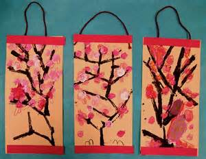 Experiments in art education cherry blossom scrolls k 1