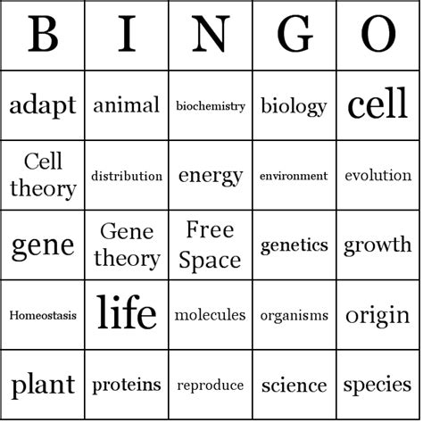 biology bingo cards