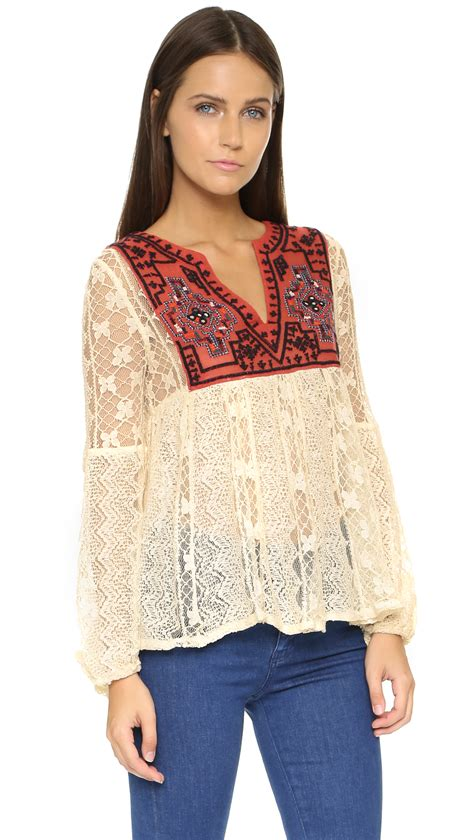free lace casablanca tunic ivory combo in white lyst