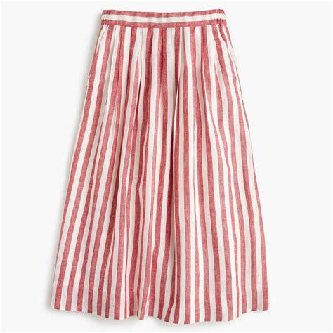 midi skirt in striped linen a line midi j crew