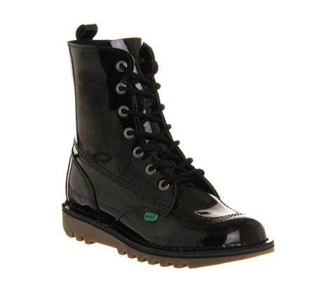 Kickers Boots Army kickers kick so hi black patent leather ankle boots