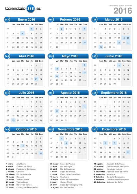 Calendario 2016 España Calendario 2016