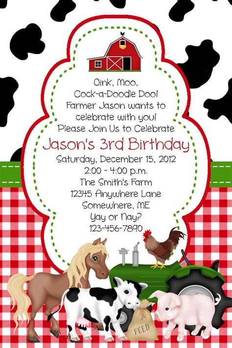 Barn Birthday Invitations Best Party Ideas Farm Invitation Template
