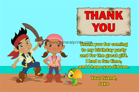 Jake And The Neverland Thank You Card Template