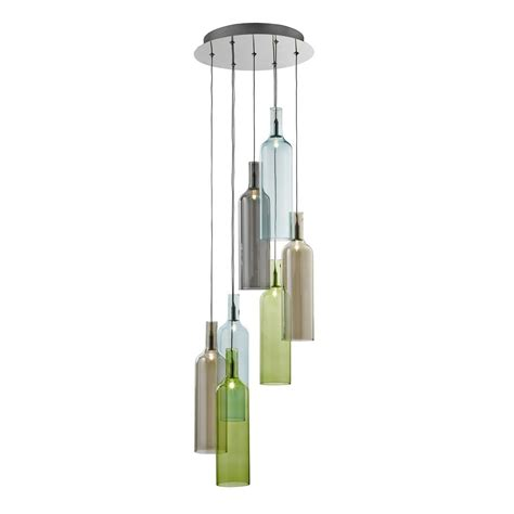 Coloured Glass Ceiling Lights Vibrant Multi Drop 7 Light Ceiling Light Chrome With Smoked Coloured Glass