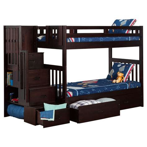 espresso bunk beds cascade twin over twin bunk bed drawers espresso