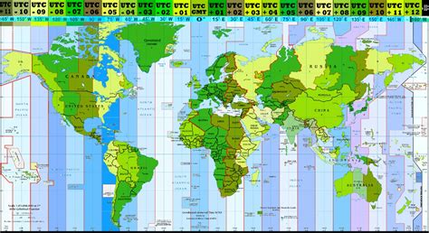 Time Zone Map Of The World by World Time Zones Converting Table