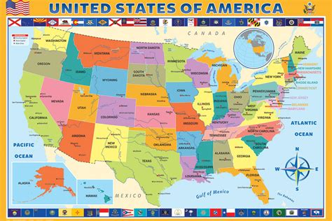 map us by state map of the united states of america athena posters