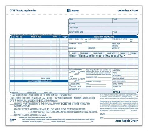 automotive work order template sle templatex1234