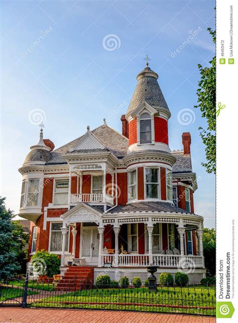 victorian brick bed and breakfast home stock photo image