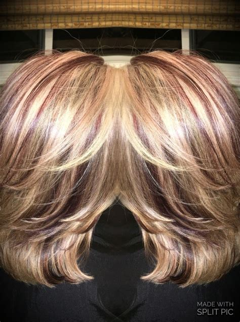blonde and burgundy high and low lights for short ladies hairstyles burgundy low lights with blonde highlights pictures dark