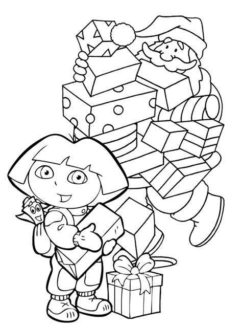 christmas coloring pages of dora the explorer dora christmas coloring pages coloring home