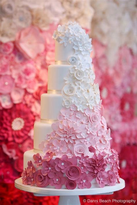 wedding cake of the day pink ombr flower wedding cake the fading of color gives an impact to these multi layered