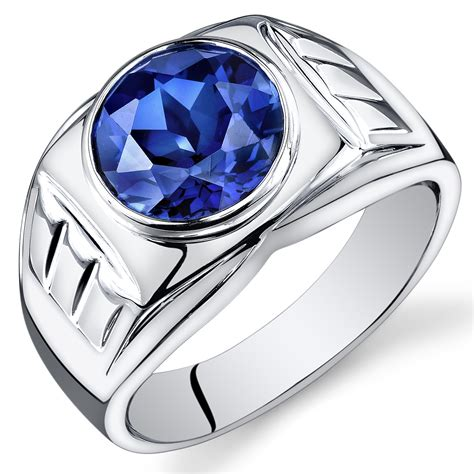 Blue Sapphire Safir 5 4ct mens 5 5 cts cut sapphire sterling silver ring sizes