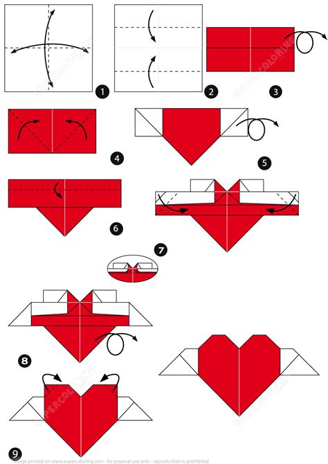 printable origami heart instructions how to make an origami heart with wings free printable